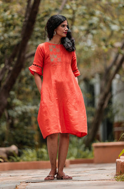 Ambu Orange Linen Dress - noolbyhand.com