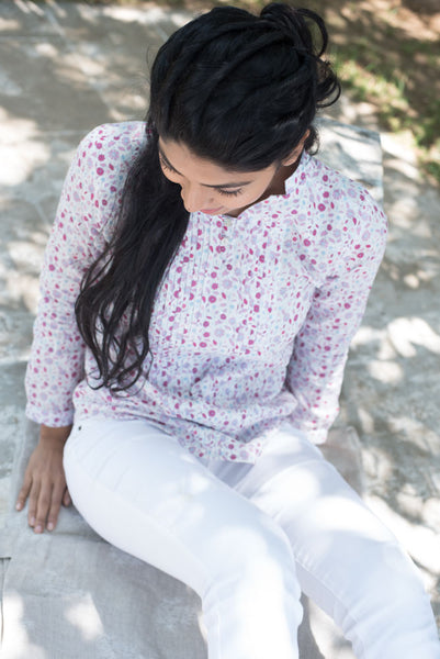 Christy White Printed Tops - noolbyhand.com