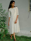 Arundhati Dent Pleated Dress - noolbyhand.com