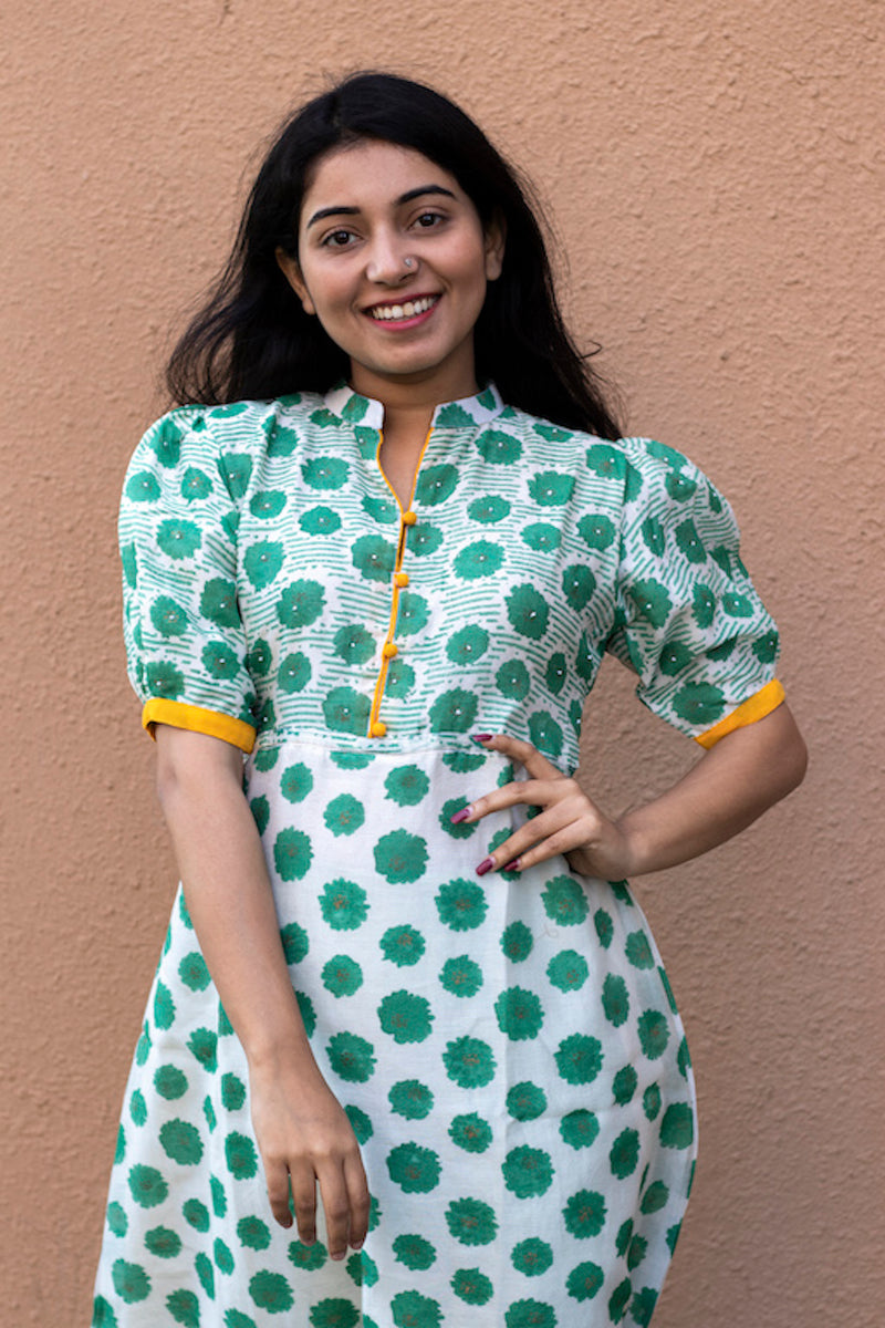 Green Block Chanderi Silk Kurta With Beads - noolbyhand.com