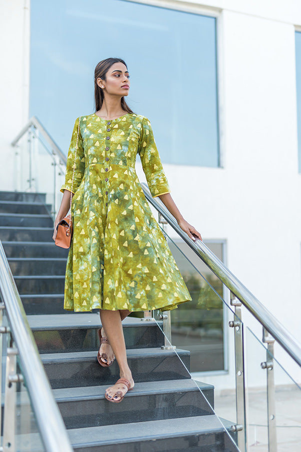 Mixed Green Batik Cotton Dress - noolbyhand.com