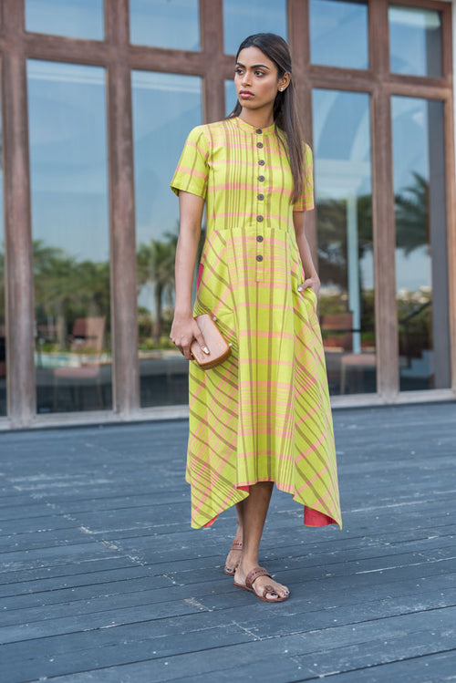 Green & Pink Checked Cotton Kurti - noolbyhand.com