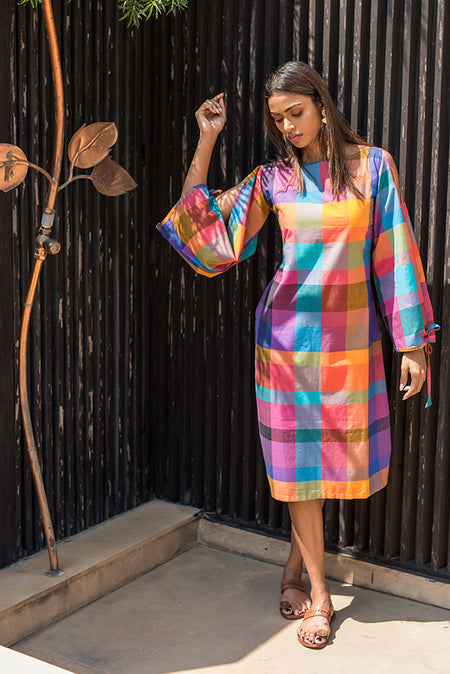 Solid Multi-Colour Checked Dress