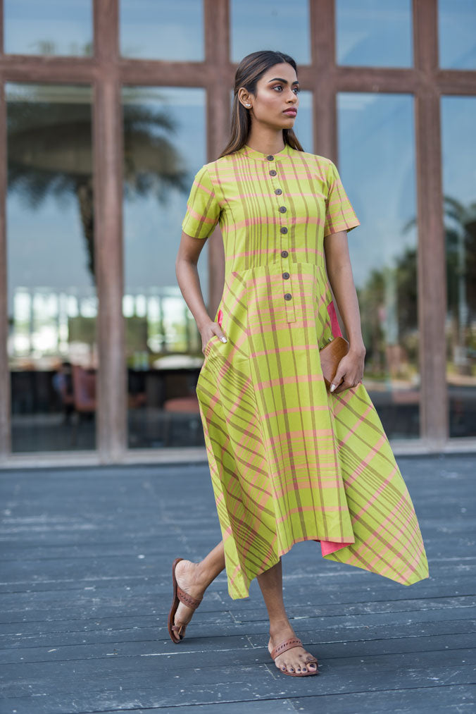 Green & pink checked cotton dress - noolbyhand.com