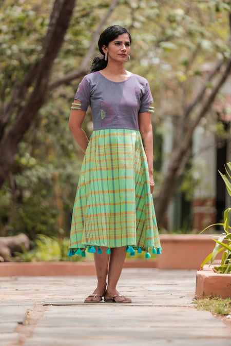 Green & pink checked cotton dress