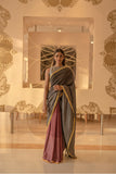 Chilli Pepper Saree with Greyish Red Pleated Saree - noolbyhand.com