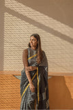 Black Pepper Saree with Silver Zari - noolbyhand.com