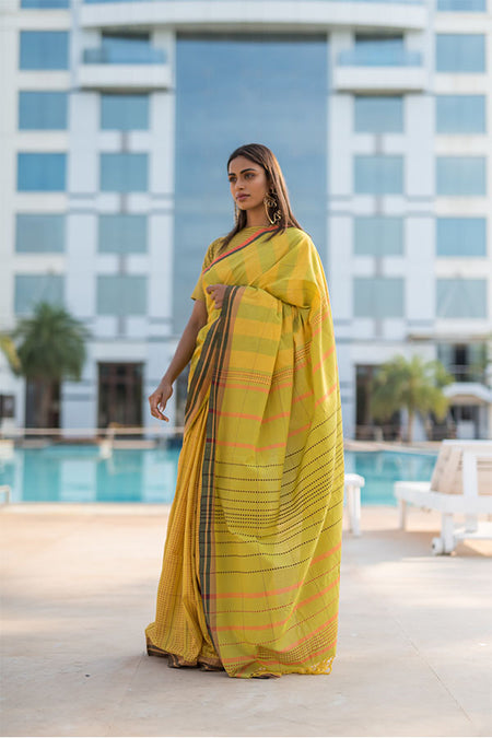 Yellow Ombre Chanderi Silk Block Printed Kurta with Cotton Pant and Embroidered Tissue Silk Dupatta - Set of 3