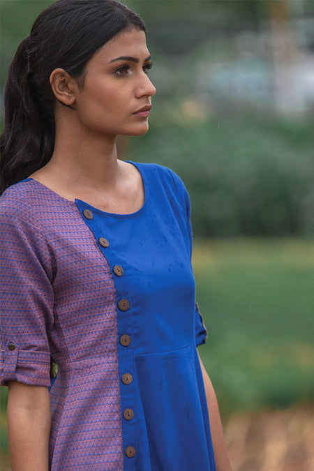 Shikha Blue Button Down Top