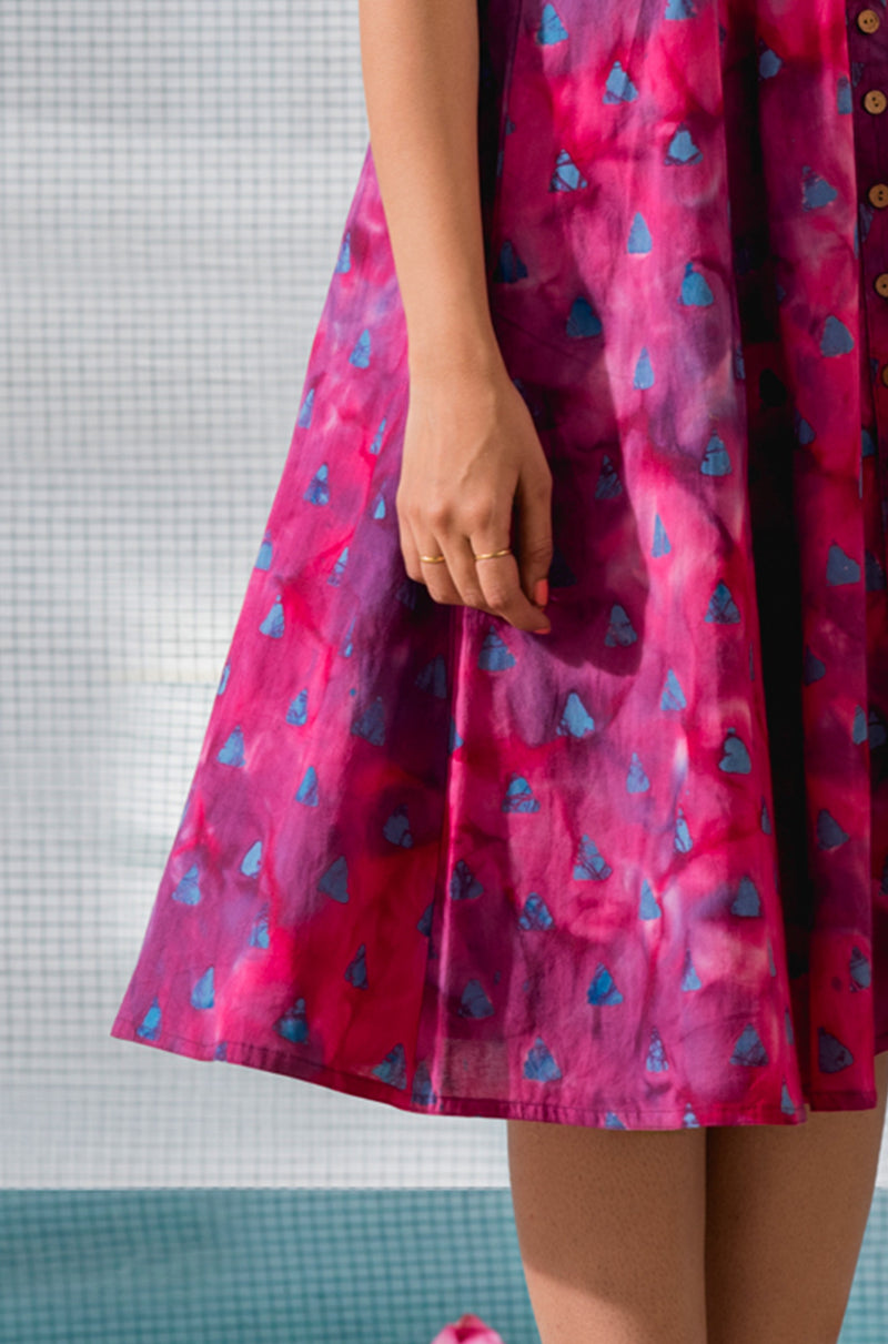 Cotton Batik Printed Pink Dress - noolbyhand.com