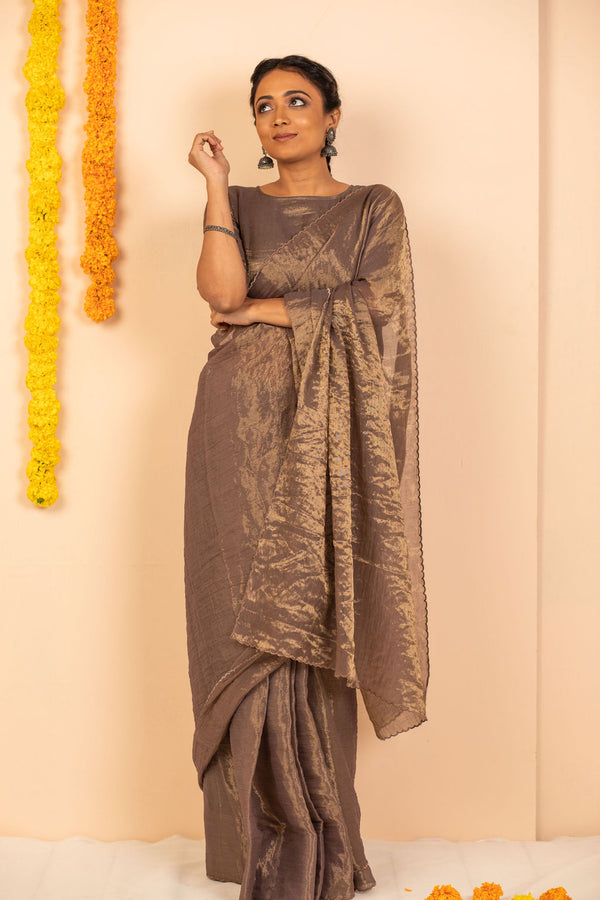 Alchemic Taupe Scalloped Tissue Silk Saree with blouse - noolbyhand.com