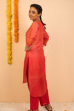 Red Ombre Chanderi Silk Block Printed Kurta with Cotton Pant - Set of 2 - noolbyhand.com