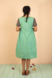 Teal Cotton Chambray Embroidered Dress - noolbyhand.com