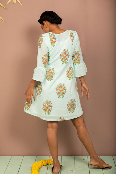 Teal Cambric Block Printed Dress - noolbyhand.com