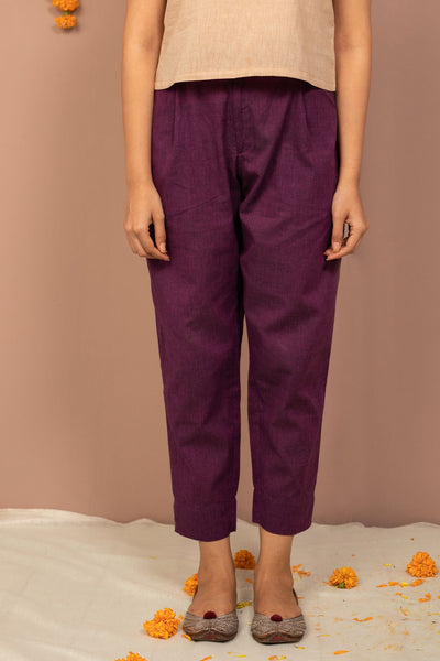Purple Cotton Chambray Tapered Pant - noolbyhand.com