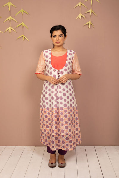 Purple Chanderi Silk Block Printed Kurta - noolbyhand.com