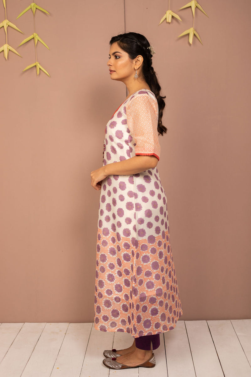 Purple Chanderi Silk Block Printed Kurta with Cotton Tapered Pant - Set of 2 - noolbyhand.com