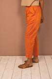 Orange Cotton Chambray Tapered Pant - noolbyhand.com