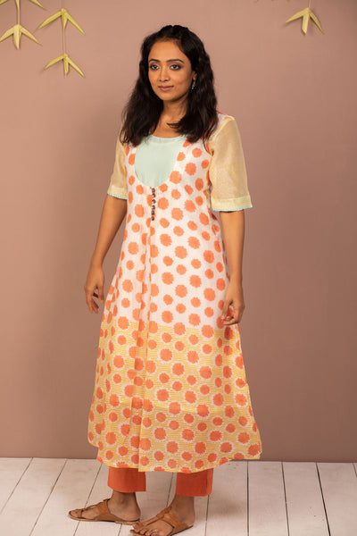Orange Chanderi Silk Block Printed Kurta with Cotton Tapered Pant - Set of 2 - noolbyhand.com