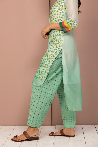 Teal Ombre Chanderi Silk Block Printed Kurta with Cotton Pant - Set of 2 - noolbyhand.com