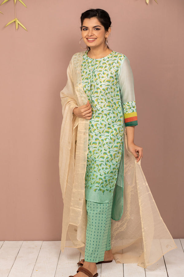 Teal Ombre Chanderi Silk Block Printed Kurta with Cotton Pant and Embroidered Tissue Silk Dupatta - Set of 3 - noolbyhand.com