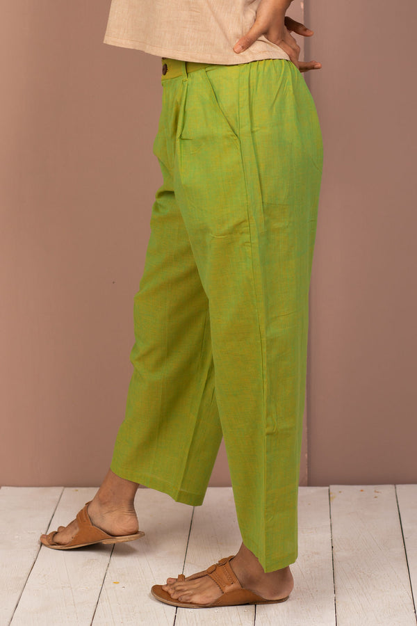 Green Cotton Chambray Straight Pant - noolbyhand.com
