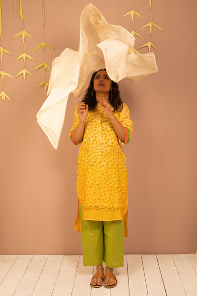 Yellow Ombre Chanderi Silk Block Printed Kurta with Cotton Pant and Embroidered Tissue Silk Dupatta - Set of 3 - noolbyhand.com