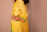 Yellow Ombre Chanderi Silk Block Printed Kurta - noolbyhand.com