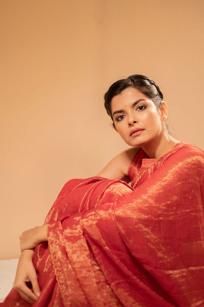Scarlet Red Scalloped Tissue Silk Saree with blouse - noolbyhand.com