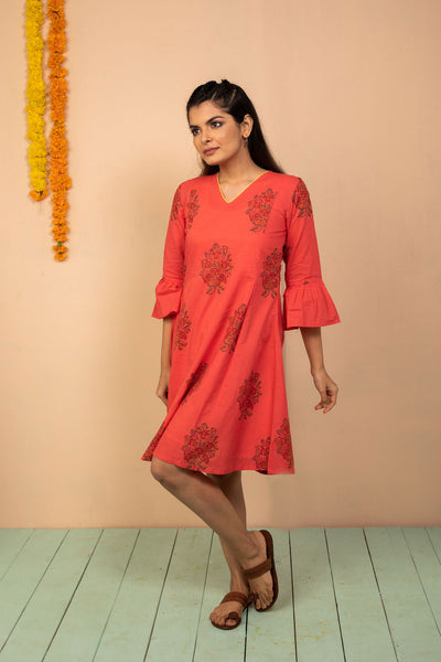 Red Cambric Block Printed Dress - noolbyhand.com