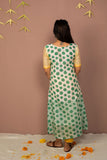 Teal Chanderi Silk Block Printed Kurta with Cotton Tapered Pant - Set of 2 - noolbyhand.com