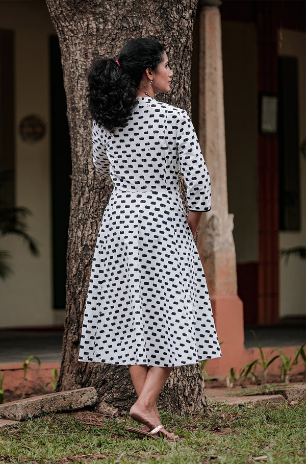 Black and White Cotton Batik dress - noolbyhand.com