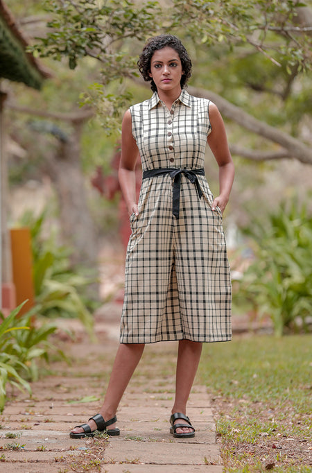 Double layer stripe and check dress.