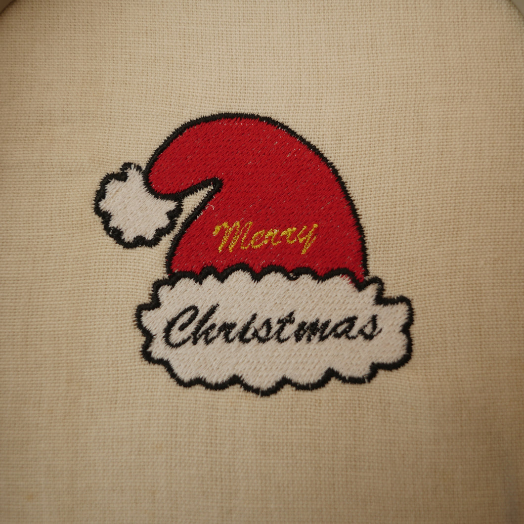 Merry Christmas Hat Embroidery Design