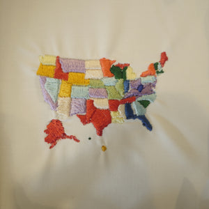 USA Map embroidery Design