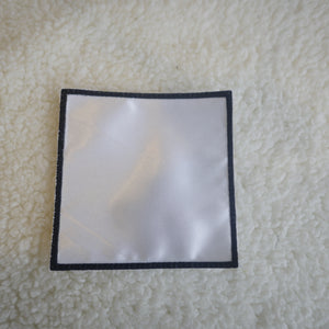 "Pack of 5   3"" White with Black Border Square Sublimation Patches"