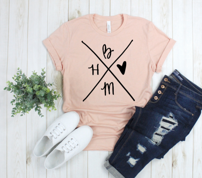 Crew Tee | Him Before Me | The Leah - Ariella's Designs