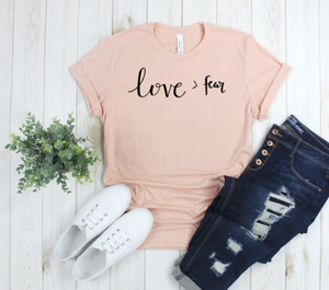 Crew Tee | Love > fear | The Leah - Ariella's Designs