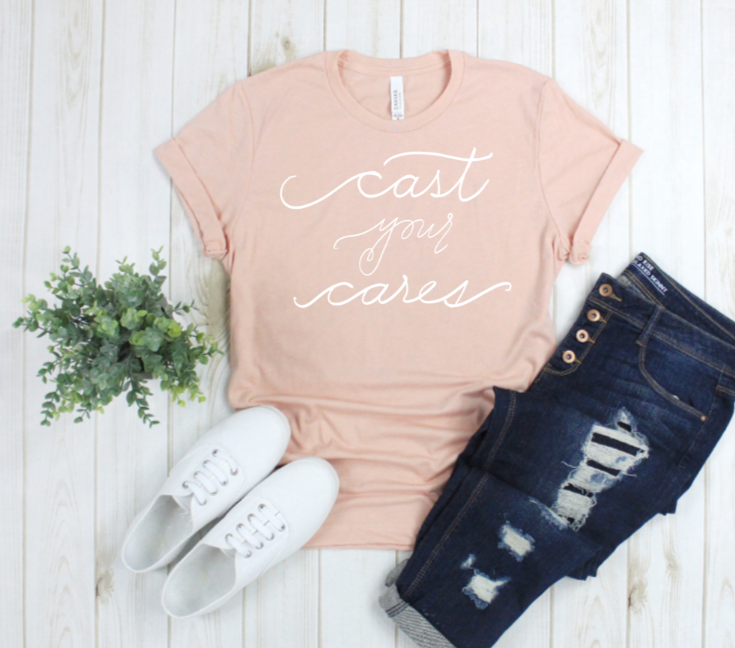 Crew Tee | Cast Your Cares | The Leah - Ariella's Designs