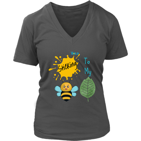 Sticking To My (Bee-Leaf) Belief - Women's V-Neck T-Shirt - LiVit BOLD - 8 Colors
