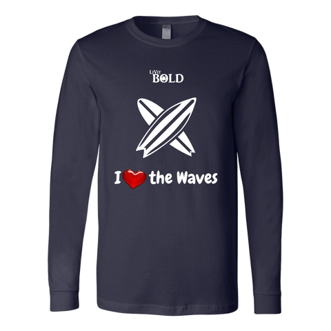 LiVit BOLD Canvas Long Sleeve Shirt - I Heart the Waves - Surfing - LiVit BOLD
