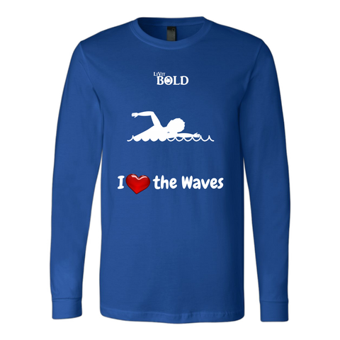 LiVit BOLD Canvas Long Sleeve Shirt - I Heart the Waves - Swimming - LiVit BOLD