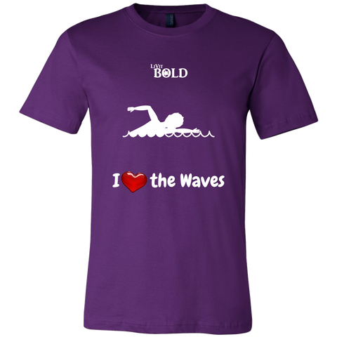 LiVit BOLD Canvas Men's Shirt - I Heart the Waves - Swimming - LiVit BOLD