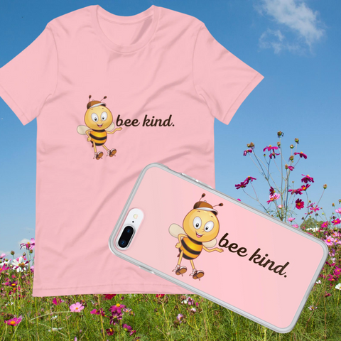 Bee Kind Combo-Pink T-Shirt & iPhone Case - FREE USA Shipping