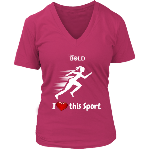 LiVit BOLD District Women's V-Neck Shirt - I Heart this Sport - Track & Field - LiVit BOLD