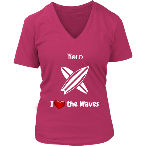 LiVit BOLD District Women's V-Neck Shirt - I Heart the Waves - Surfing - LiVit BOLD