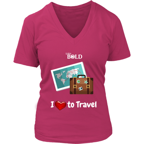 LiVit BOLD District Women's V-Neck Shirt - I love to Travel - LiVit BOLD