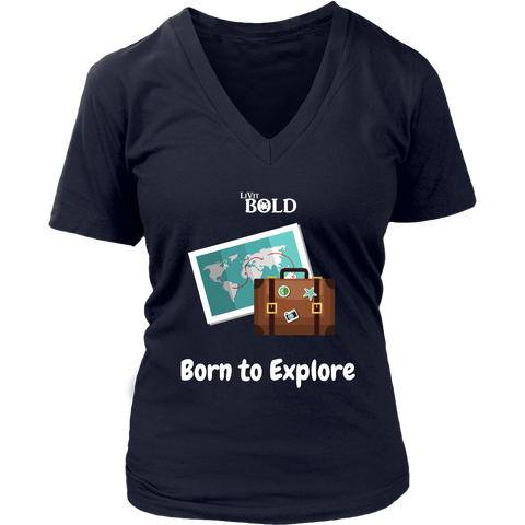 LiVit BOLD District Women's V-Neck Shirt - Born to Explore - LiVit BOLD