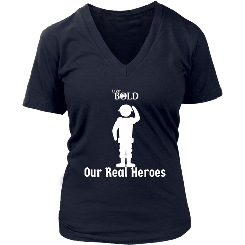 LiVit BOLD District Women's V-Neck Shirt - Our Real Heroes - Army Style - LiVit BOLD