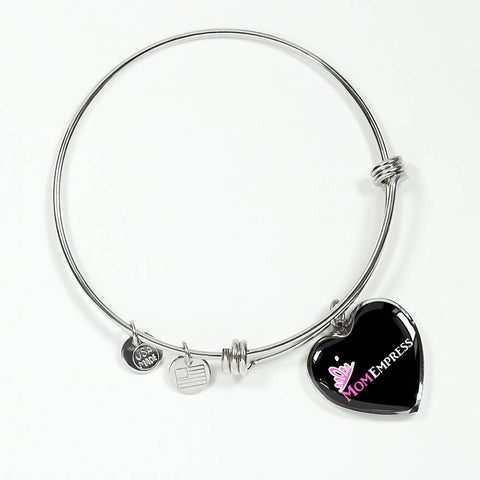 MomEmpress Heart Pendant Silver Bangle - LiVit BOLD